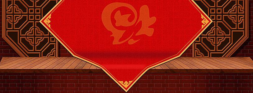 红色新年春节福门窗墙面banner背景