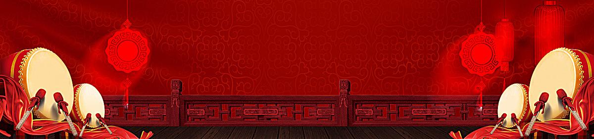 中国结红色鼓灯笼背景