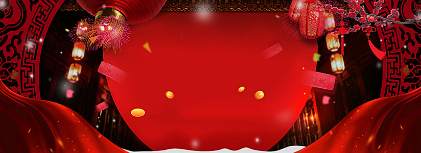 新年喜庆中国结红色电商海报背景