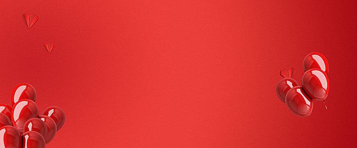 红色气球心形装饰背景