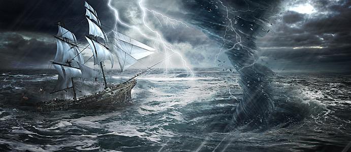 大气暴风雨大海合成淘宝海报