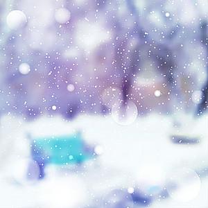 公园雪景朦胧美海报背景