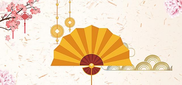 春节喜庆中国结白色底纹电商海报背景