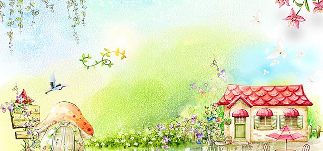 春季卡通绿色电商海报背景
