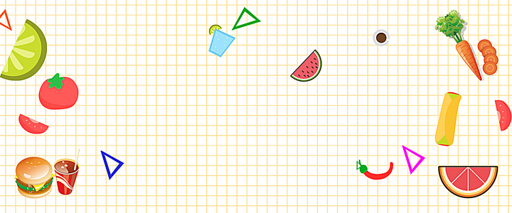 食品卡通白色海报banner背景