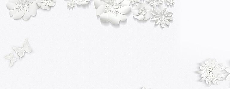 白色花朵大气珠宝天猫海报banner背景