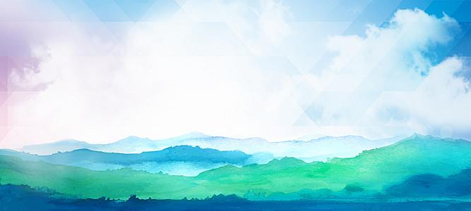 中国风水墨山水风景海报banner