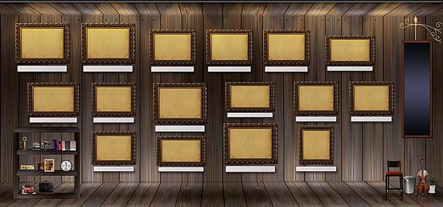 复古木纹室内照片墙创意设计