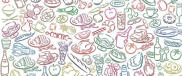 饮食文化手绘彩色海报banner背景