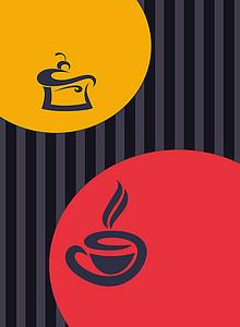 红黄色咖啡竖条纹背景素材