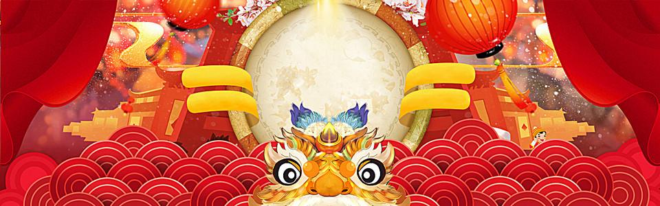 1号店一号店年货节春节中国风红色淘宝海报背景