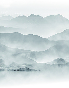 山川中国风水墨大气神秘高清大图渐变背景材