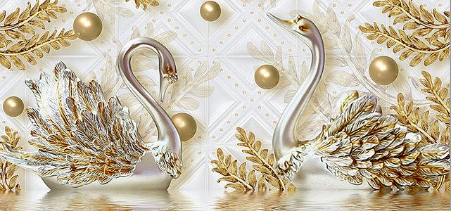 奢华3d天鹅黄金叶子水纹珠宝电视背景墙
