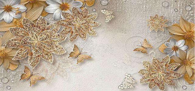 奢华金色珠宝花朵蝴蝶电视背景