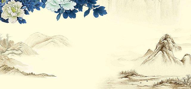 中国风中式蓝色牡丹家居背景