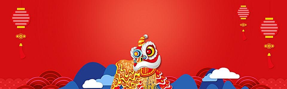 新年中国风扁平红色电商海报背景