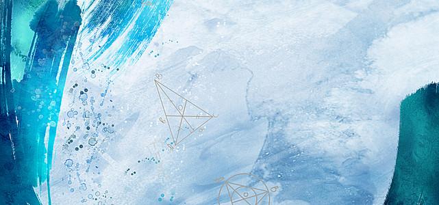 水彩手绘蓝色办公文具banner背景