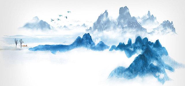中国风禅意水墨山水背景