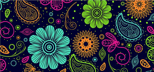 可爱花纹图案扁平海报背景