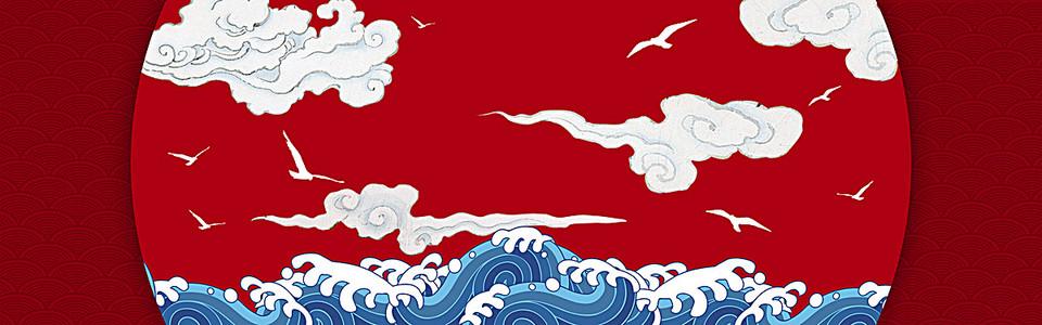 春节中国风红色淘宝海报背景