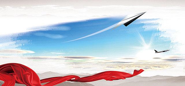 励志商务文化纸飞机企业文化浅色背景
