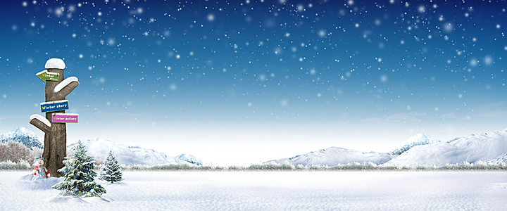 雪景梦幻浪漫蓝色banner背景