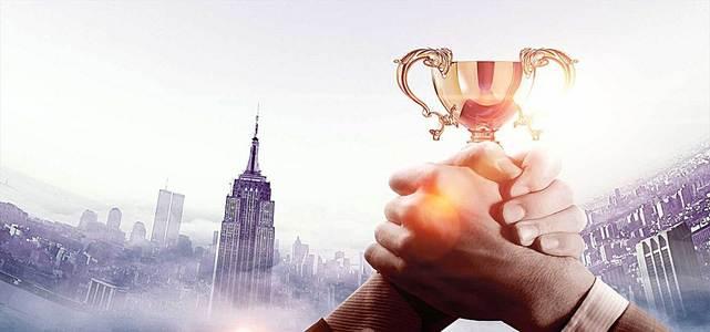 商务企业合作奖杯荣誉背景