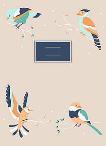 暖灰色鸟类海报背景素材