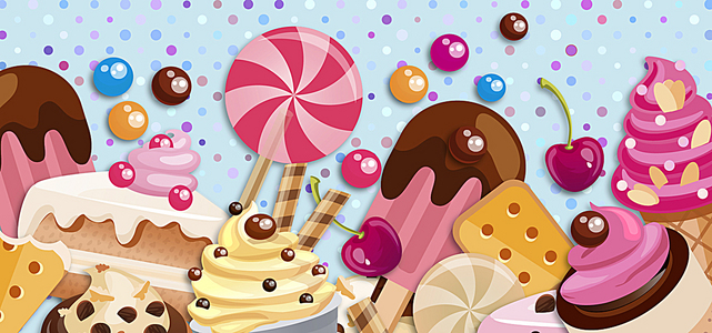 淘宝矢量卡通精美甜品棒棒糖蛋糕彩色海报