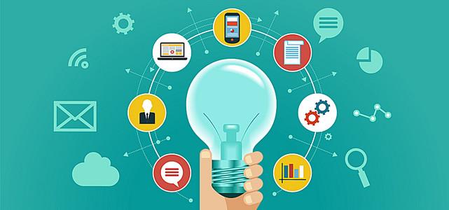 淘宝矢量卡通灯泡信息功能电脑手机科技海报