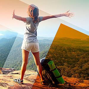 户外登山旅游宣传海报背景素材