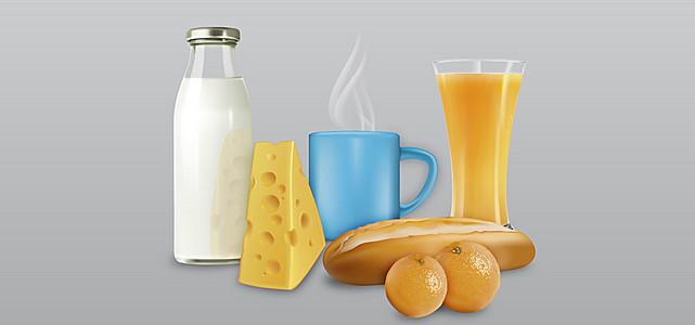 淘宝矢量卡通面包橘子橙汁牛奶奶酪海报