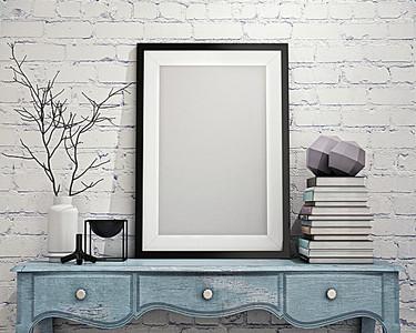 书桌上的画框家居画册背景素材