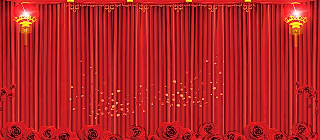 红色幕布花卉喜庆签到展板背景素材