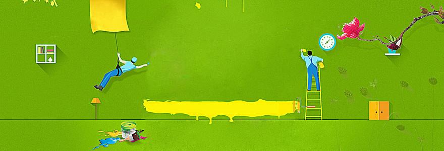 春季家装节绿色淘宝海报背景