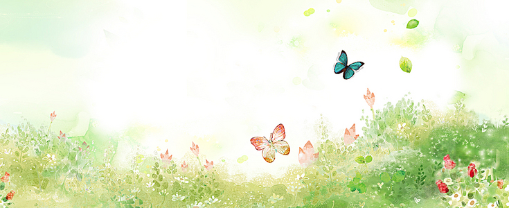春季绿色花丛背景图