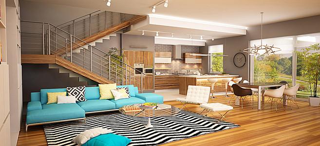 家装客厅沙发地毯与桌椅等摄影轮播图