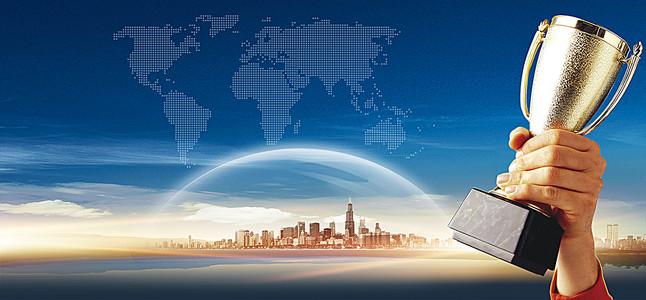 商业科技蓝色海报背景