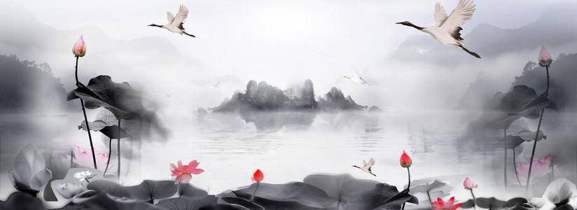 荷花文艺中国风水墨灰banner