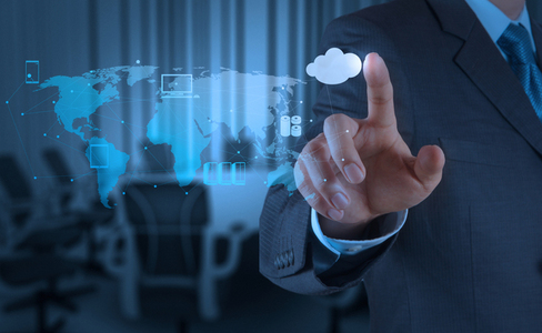 人物触控手势与云服务创意背景素材