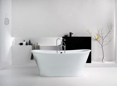 家装建材铸铁浴缸简约卫浴品牌广告背景素材