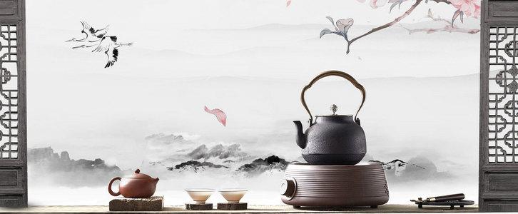 茶具茶文化古风海报背景