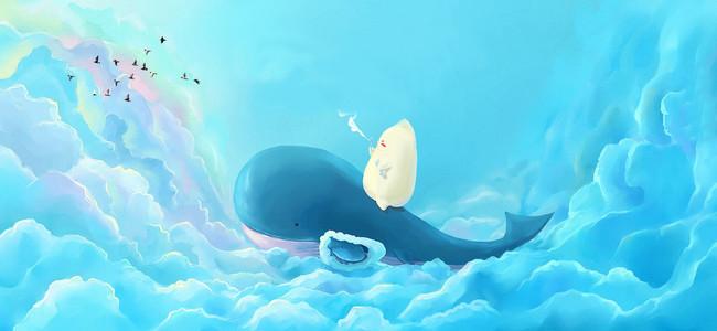 立夏大气蓝色云层可爱海豚背景