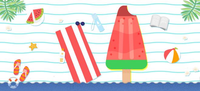 清凉一夏西瓜棒冰手绘文艺小清新几何蓝背景