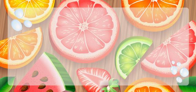 夏日冰爽水果饮料卡通童趣水珠背景