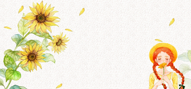 夏日向日葵手绘女孩简约白色背景