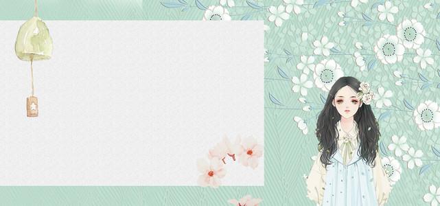 立夏小清新日系女孩花瓣绿色背景