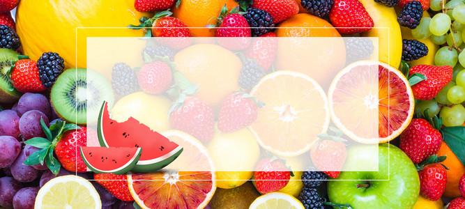夏日水果大合集小清新冰爽几何背景