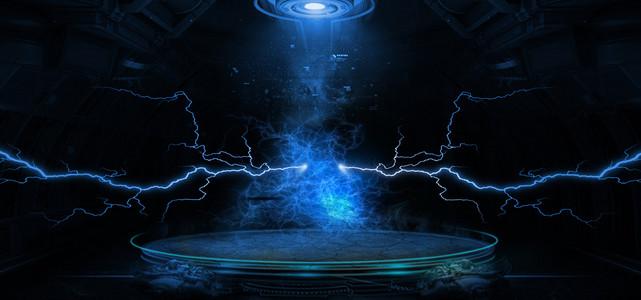 男神节大促销闪电质感蓝色背景