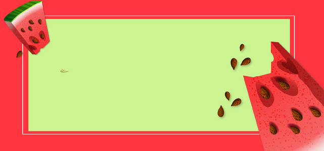 卡通西瓜几何绿色撞色背景